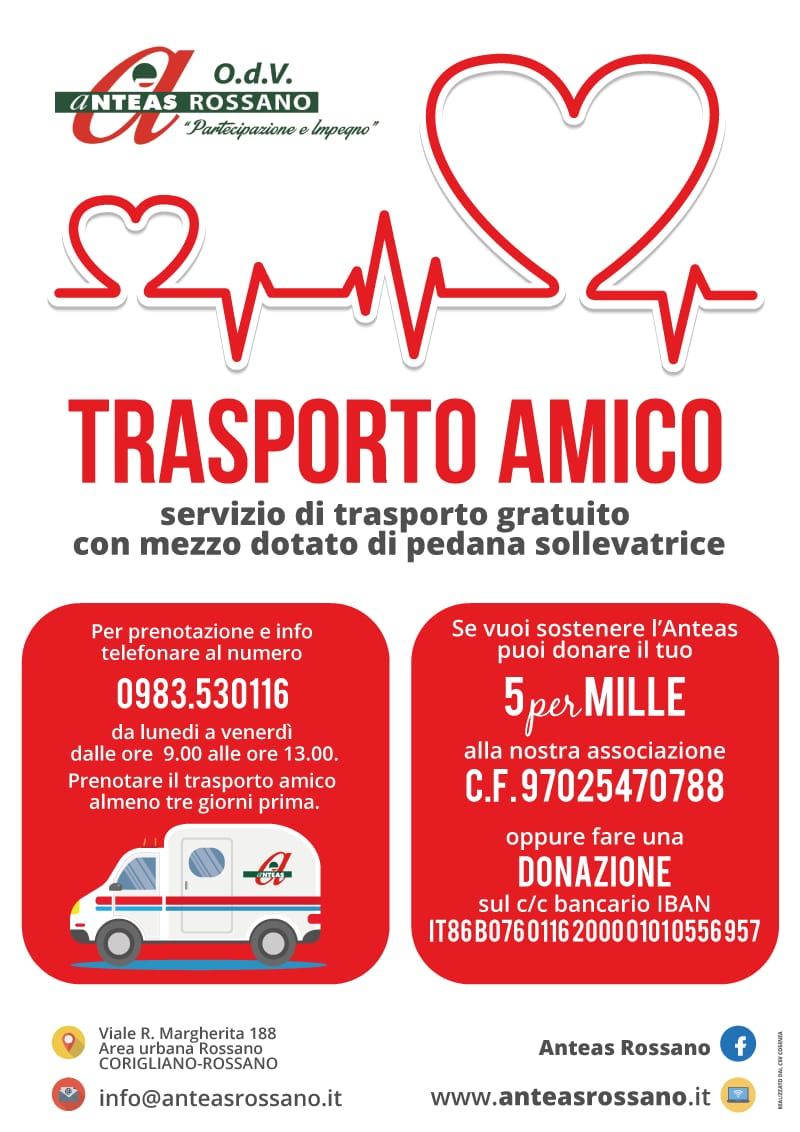 Locandina - Trasporto Amico - ANTEAS Rossano